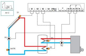 solarni regulator resol schema